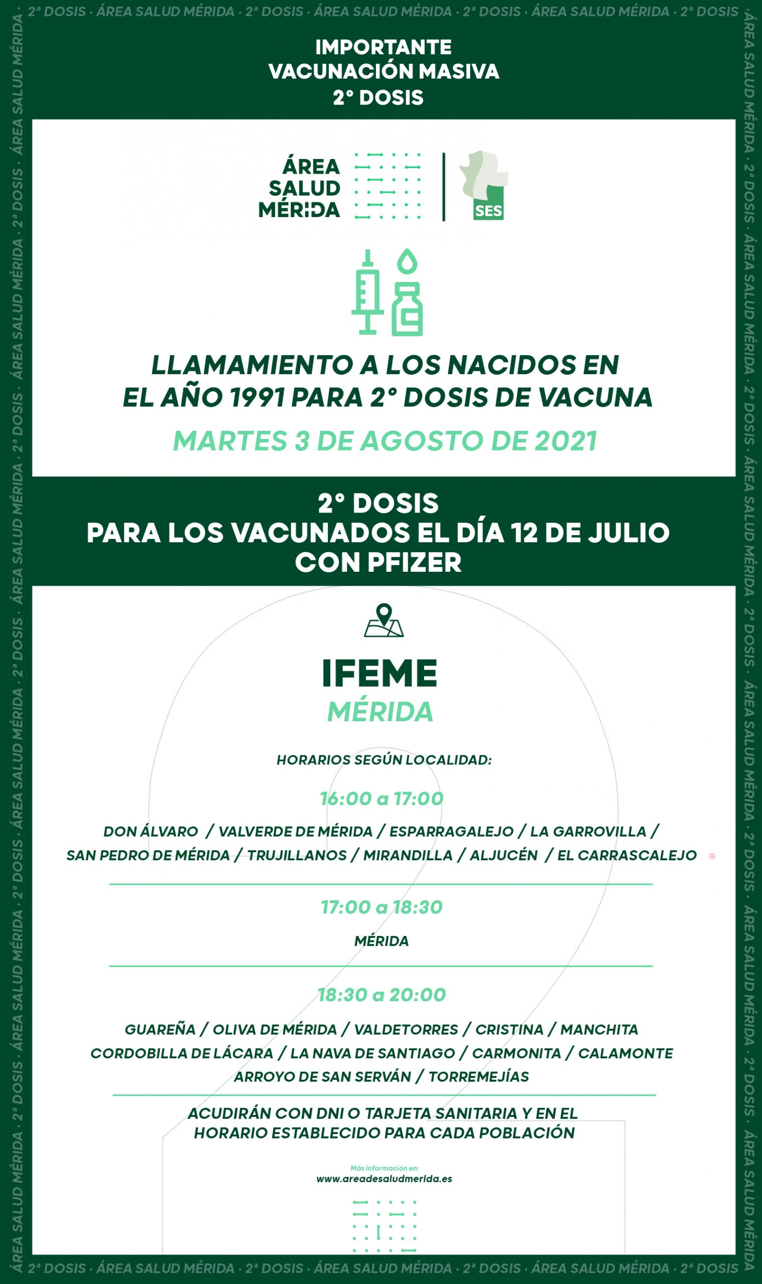 Llamamiento a los nacidos en 1991 para vacunación 2ª dosis, martes 3 de Agosto
